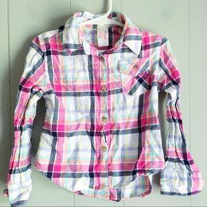 Cat & Jack • Pink Plaid Flannel Button Down Shirt